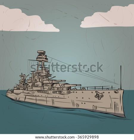 world war 2 us battleship hand