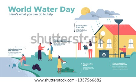World Water Day infographic illustration about safe clean waters help. Diverse people friendly social community doing eco sustainable actions for Earth care awareness campaign or education project.