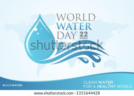 World Water Day letter on world map background with droplet. Letter World Water Day letter for element design. Vector illustration EPS.8 EPS.10