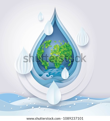 World water day, Save the Water and world, Leaf Earth globe map in Abstract Water drop and wave Background, Environmental Protection Concept, Ecology, Paper art vector and illustration