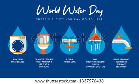 World Water's Day infographic illustration with information about domestic care of water from home. Bathroom, pipes and running waters activities for awareness campaign or education project.
