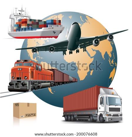 World wide cargo transport concept. Vector illustration