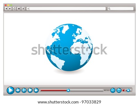 World wide web browser with globe and video control buttons
