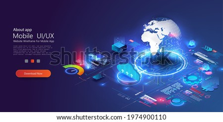 World wide web via wireless satellite network technology. digital connection at clouds services of all earth. Global network technology in isometric illustration. World internet connection.