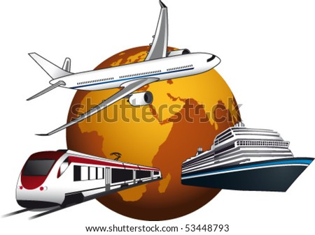 World with plane, ship and train