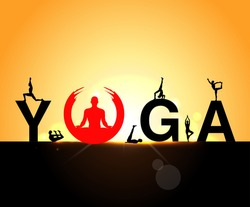 World Yoga Day vector illustration, sunrise background, Yoga infographics, mental and physical benefits of practice - vector eps10
