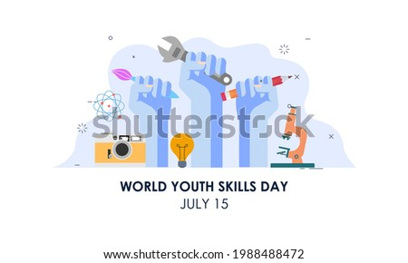 World youth skills day concept illustration
