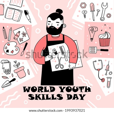 World Youth Skills Day vector. Human abilities illustration. White education icon set. Study simple icons set. Science symbols. World Youth Skills Day Poster, July 15. Important day. Hand drew EPS 10