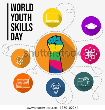 World Youth Skills Day vector Illustration with Colorful of fist and icon design. Celebrate on July 15th. Good template for Youth Campaign poster design.