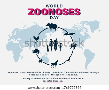 World Zoonoses Day, zoonotic diseases transmissible from animals to humans, celebration infographics, poster, illustration vector Stock photo ©