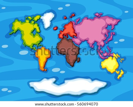 Worldmap continents free vector download free vector art stock worldmap in different color continents illustration gumiabroncs Images