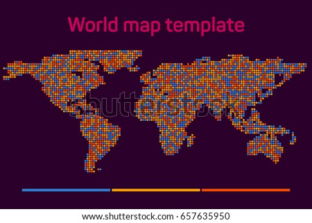 worldmap mosaic template silhouette world map for infographic