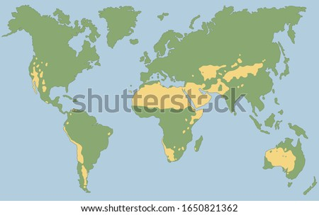 Worlds largest deserts like Sahara, Gobi, Kalahari, Arabian, Patagonian and Great Basin Desert. Global map with yellow desert climate. Vector illustration.