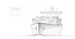 Worldwide cargo ship. Abstract Polygonal wireframe vector. Transportation, logistic, shipping concept illustration or background