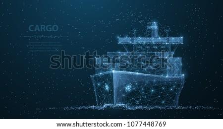 worldwide cargo ship polygonal