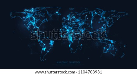 Worldwide connection. Digital world web map. Abstract network connection. Vector business, technology illustration. Futuristic earh. Plexus texture.