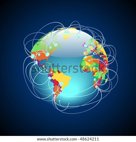 Worldwide connections concept. Globe with detailed multicolored countries, data threads over the planet. Vector illustration.