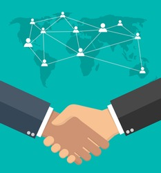 Worldwide cooperation concept - Business handshake with world map and connected user icons