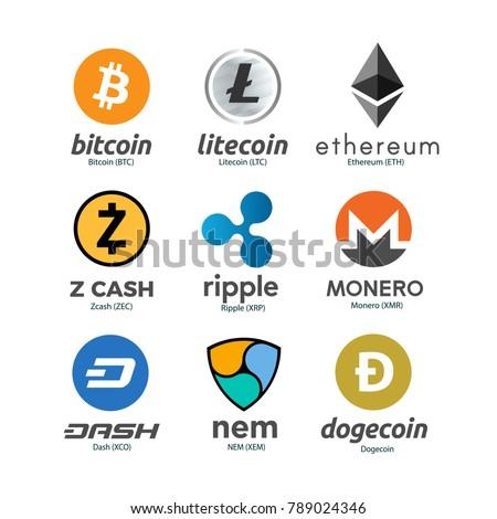 Worldwide crypto currency symbols set. Bitcoin, Litecoin, Ethereum, Zcash, Ripple, Monero, Dash, NEM, Dogecoin. Virtual currency. Crypto currency. New virtual money. EPS10 vector