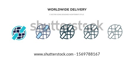 worldwide delivery icon in different style vector illustration. two colored and black worldwide delivery vector icons designed in filled, outline, line and stroke style can be used for web, mobile,