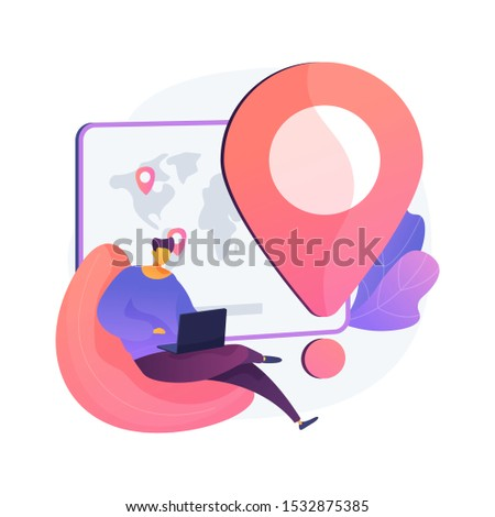 Worldwide delivery service. Global navigation, ordering system, world tourism idea. Vacation spot. Vacation spot choosing, package status tracking. Vector isolated concept metaphor illustration