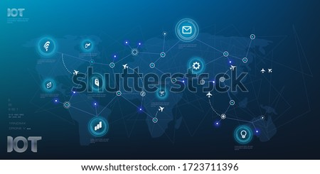 Worldwide global Internet network of things and network connected devices. Internet of things IOT Unified global information Internet network of air traffic communications on world map ストックフォト ©