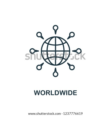 Worldwide icon. Outline style thin design from business icons collection. Pixel perfect simple pictogram worldwide icon for UX and UI