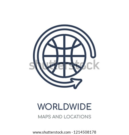 Worldwide icon. Worldwide linear symbol design from Maps and locations collection. Simple outline element vector illustration on white background.
