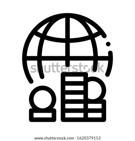 Worldwide Money Icon Vector. Outline Worldwide Money Sign. Isolated Contour Symbol Illustration