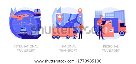 Worldwide order delivery service. Cargo plane and truck shipment. International transport, national transport, regional transport metaphors. Vector isolated concept metaphor illustrations.
