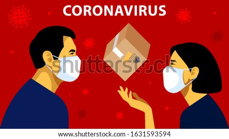 Worldwide Parcel Express in The World. People in white medical face masks send a cardboard postage box. Shipping in The World. Concept of delivery, parcel, postal service. Modern vector