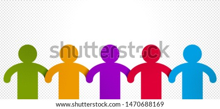 Worldwide people global society concept, different races solidarity, we stand as one, togetherness and friendship allegory, world unity cooperation, vector illustration logo or icon.