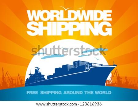 Worldwide shipping design template.