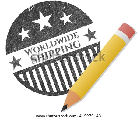 Worldwide Shipping draw with pencil effect