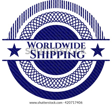 Worldwide Shipping emblem with jean high quality background