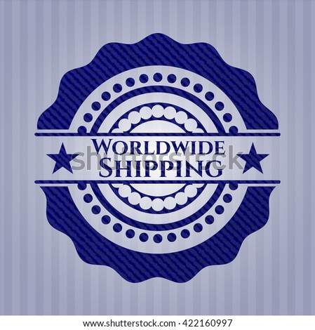 Worldwide Shipping emblem with jean texture