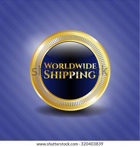 Worldwide Shipping gold badge or emblem