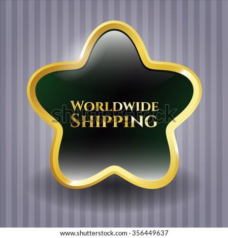 Worldwide Shipping gold shiny badge