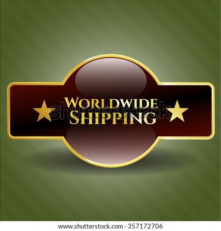Worldwide Shipping golden emblem or badge