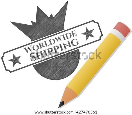 Worldwide Shipping pencil emblem