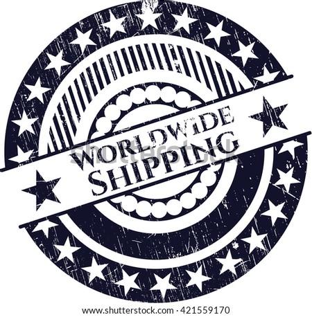 Worldwide Shipping rubber grunge texture stamp