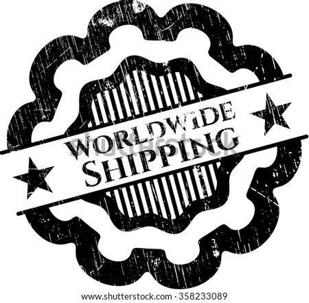 Worldwide Shipping rubber stamp with grunge texture