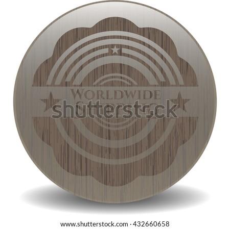 Worldwide Shipping wooden emblem. Vintage.