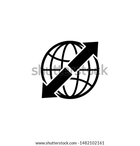 Worldwide Shipping, World Delivery. Flat Vector Icon illustration. Simple black symbol on white background. Worldwide Shipping, World Delivery sign design template for web and mobile UI element