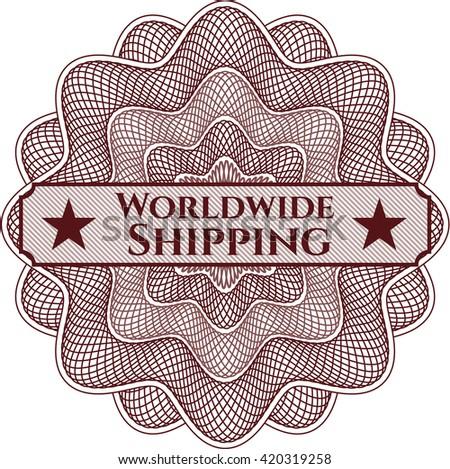 Worldwide Shipping written inside rosette