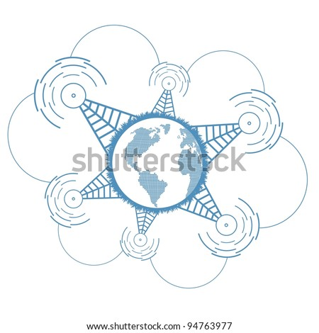 Worldwide signal connections network concept vector background
