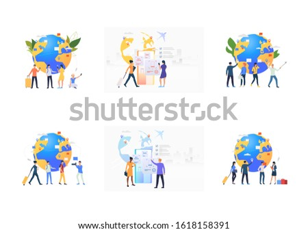 Worldwide tourism set. Tourists choosing flight destinations, buying tickets. Flat vector illustrations. Travel, vacation, airport concept for banner, website design or landing web page