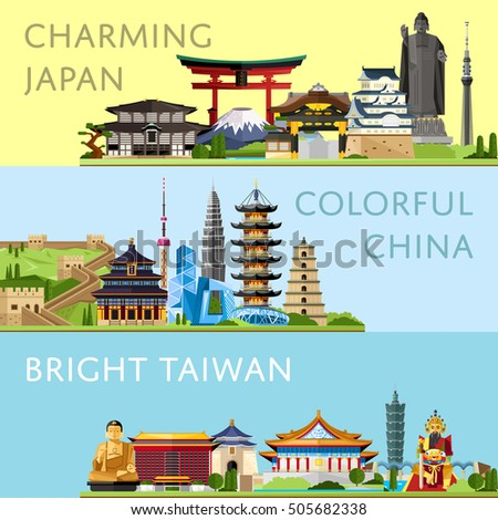 Worldwide travel flyers with famous architectural landmarks. Travel to Japan. Discover China. Bright Taiwan. Time to travel idea. Historical landmarks and buildings. Travel landmarks concept. Travel