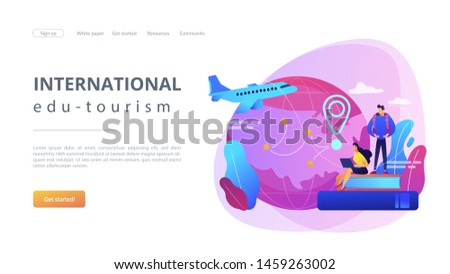 Worldwide travel, school adventure. Tourist trip, students on holidays. Educational tourism, international edu-tourism, best study tours concept. Website homepage landing web page template.