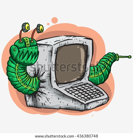 worm attacking computer green